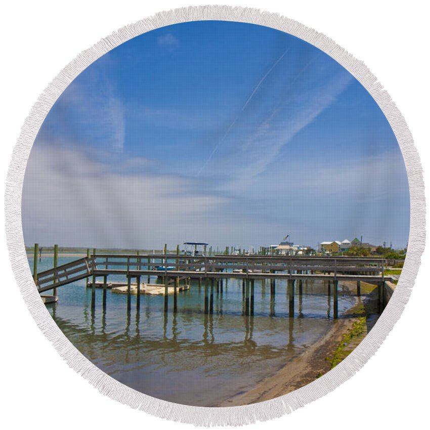 Topsail Round Beach Towel featuring the photograph Quiet At The Sound by Betsy Knapp