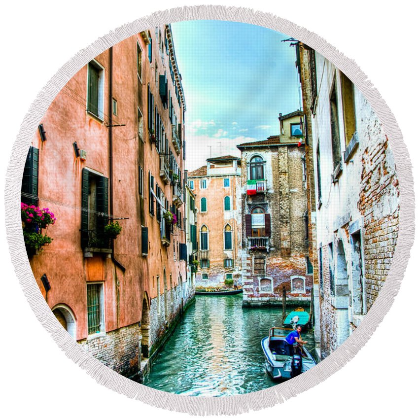 Venice Canal Round Beach Towel featuring the photograph Quiet Canal by Jon Berghoff
