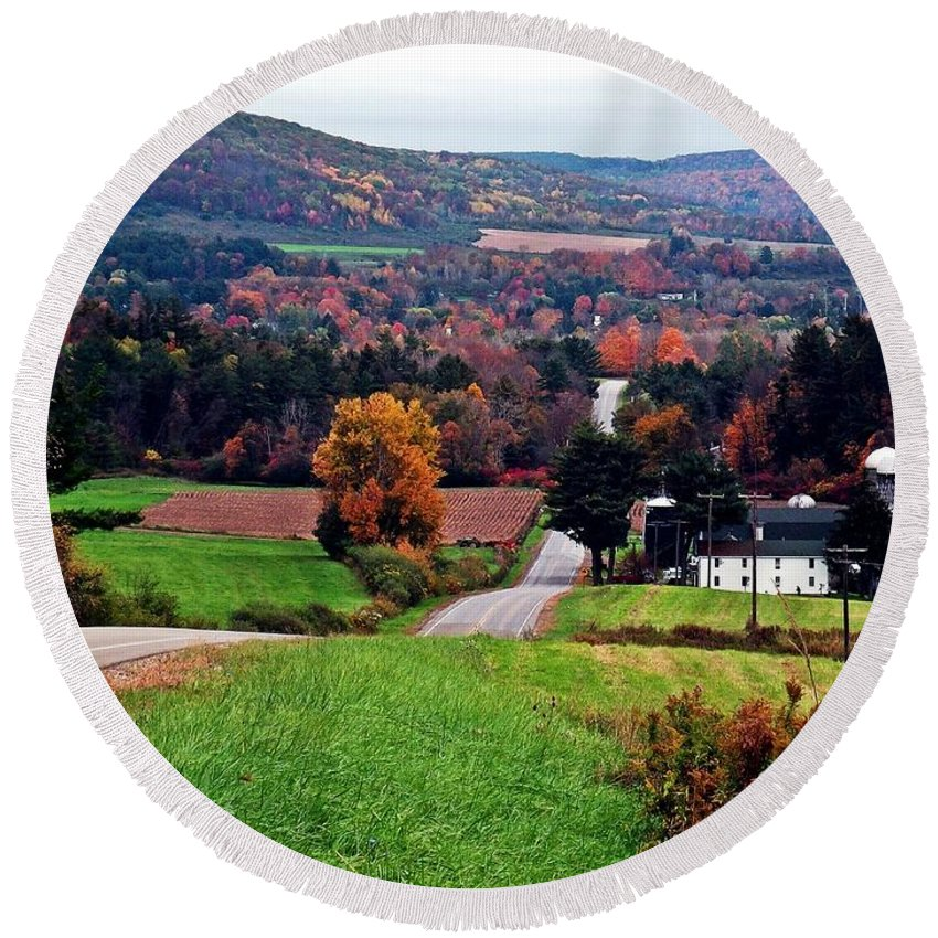 New York Round Beach Towel featuring the photograph Quilted Hills by Christian Mattison