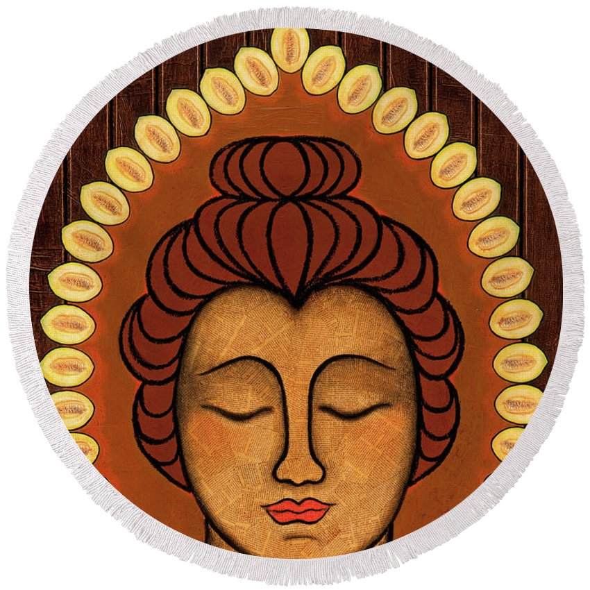 Icon Round Beach Towel featuring the painting Radiant Peace by Gloria Rothrock