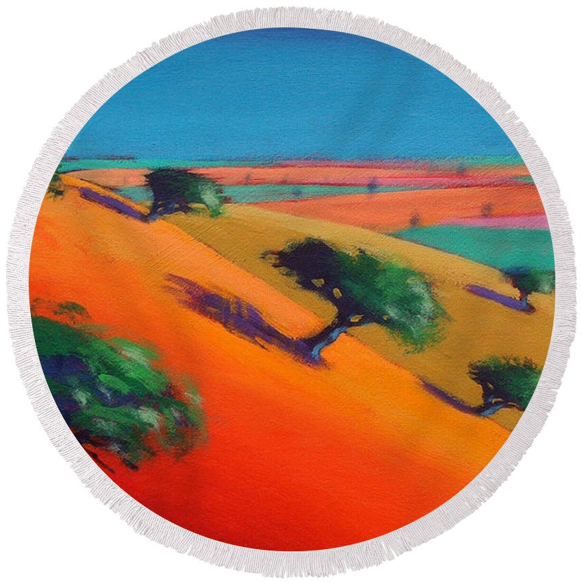 Hillside; Valley; Tree: Trees; Summer; Landscape; Hill; Field; Fields; Vivid; Colourful; Colorful; Arid; Colorful Round Beach Towel featuring the painting Ragged Stone Hill by Paul Powis