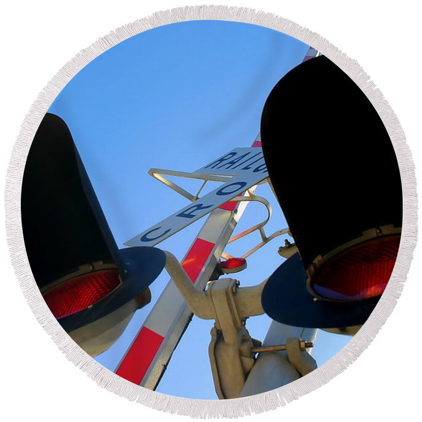 Crossing Round Beach Towel featuring the photograph Rail Cro by Henrik Lehnerer