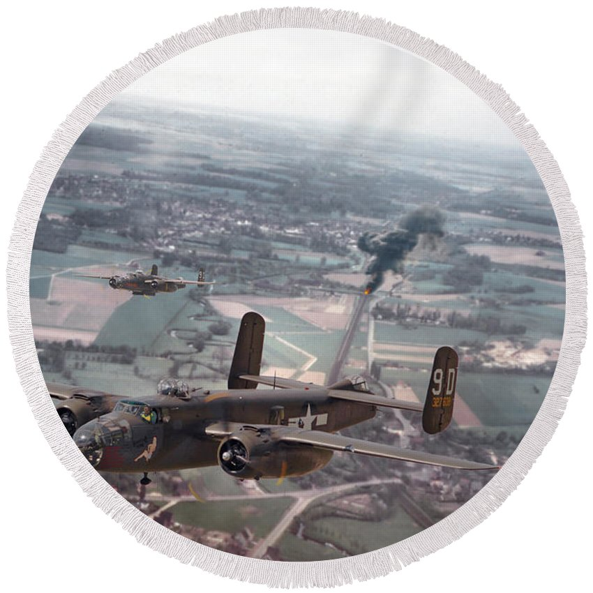 Aircraft Round Beach Towel featuring the photograph Rail Strike by Pat Speirs