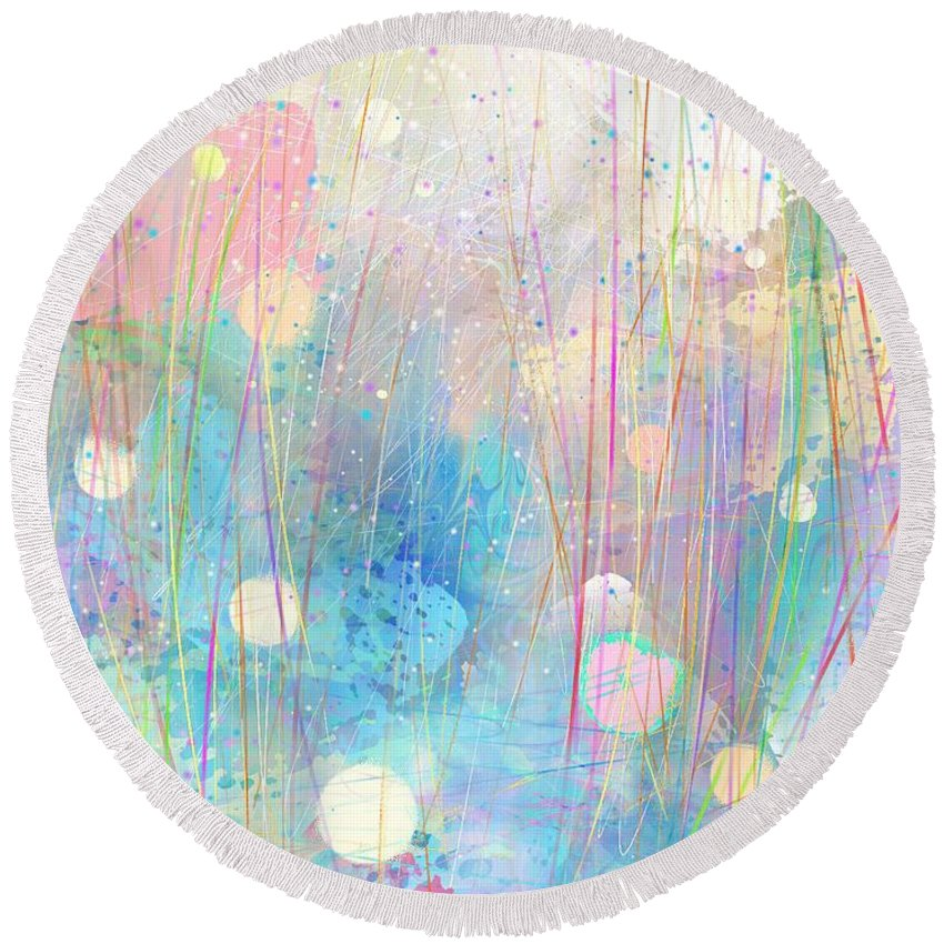 Holy Spirit Round Beach Towel featuring the digital art Rain Down On Me by Rachel Christine Nowicki