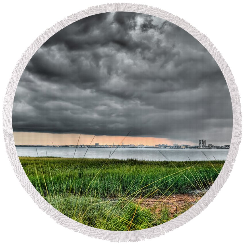 Charleston Round Beach Towel featuring the photograph Rain Rolling In On The River by Andrew Crispi