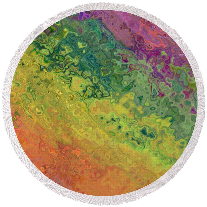 Abstract Round Beach Towel featuring the photograph Rainbow Abstract by Debbie Portwood