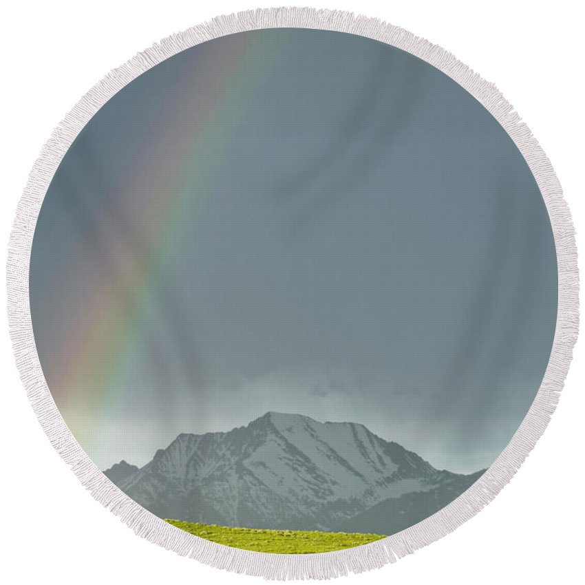 Americas Round Beach Towel featuring the photograph Rainbow Against The Crazy's by Roderick Bley