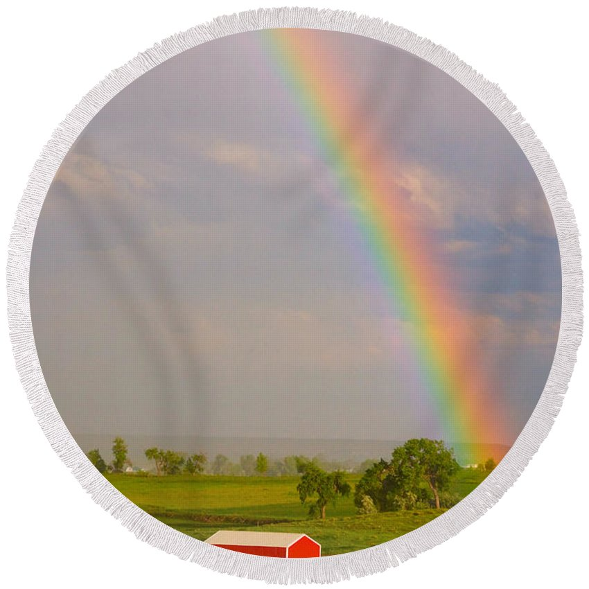 Rainbow; Rainbows; 'coloardo Rainbows'; 'colorado Nature'; 'red Barn Stock Images'; Awesome; 'boulder County'; Colorado; 'colorado Landscapes; Country'; Green; 'james Bo Insogna'; Landscape; Nature; 'rainbow Stock Images'; Rainbows; Red; 'red Barns'; Rural; Stock Round Beach Towel featuring the photograph Rainbow And Red Barn by James BO Insogna
