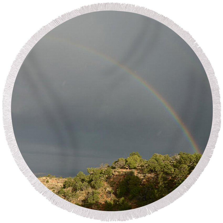 Grand Canyon Round Beach Towel featuring the photograph Rainbow At Grand Canyon by Cassie Marie Photography