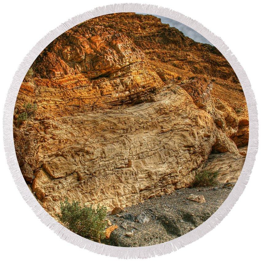 Rainbow Canyon 2 Death Valley Round Beach Towel featuring the photograph Rainbow Canyon 2 Death Valley by Chris Brannen