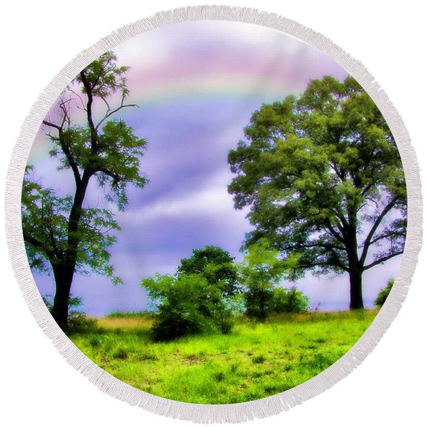 2d Round Beach Towel featuring the photograph Rainbow Connection by Brian Wallace