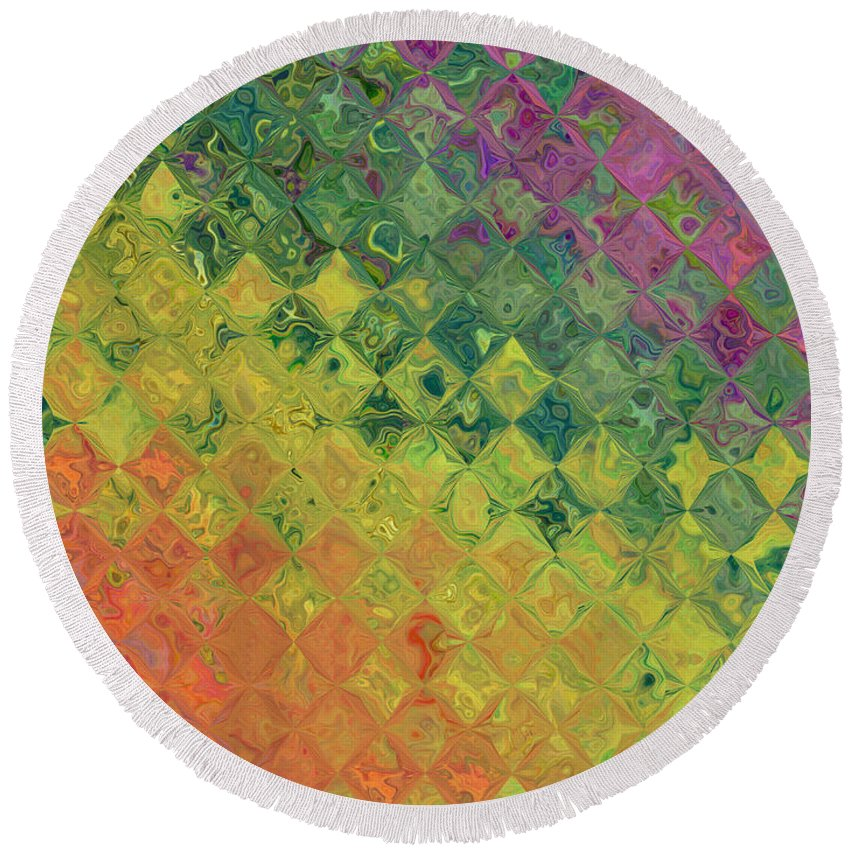 Abstract Round Beach Towel featuring the digital art Rainbow Diamond Glass by Debbie Portwood
