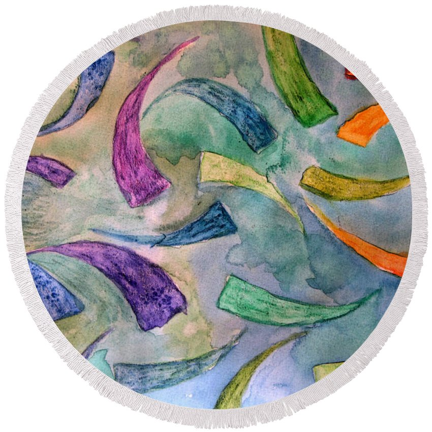 Abstract Round Beach Towel featuring the painting Rainbow Fish by Debbie Portwood