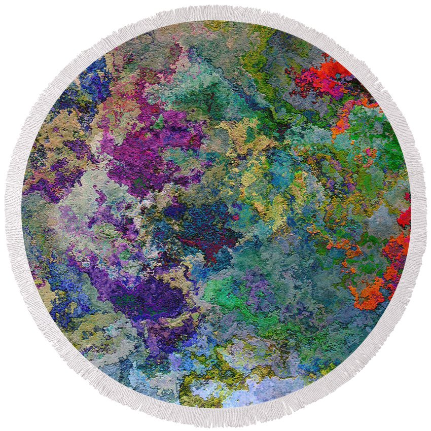 Abstract Round Beach Towel featuring the digital art Rainbow Fish Watercolor Abstract Art by Debbie Portwood