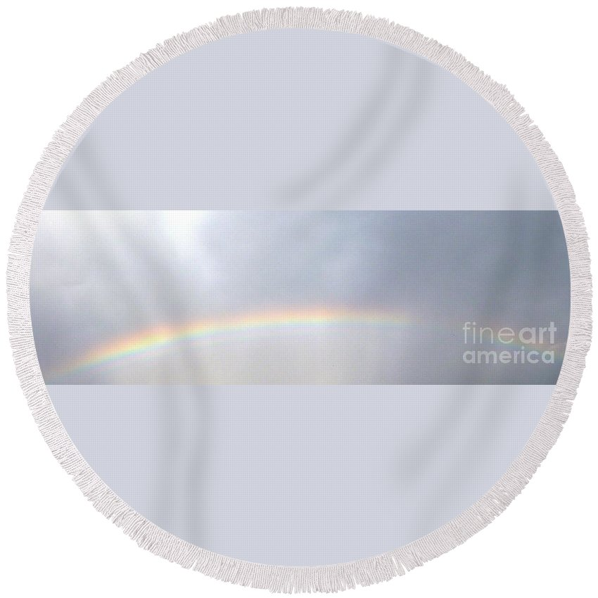 Nature Round Beach Towel featuring the photograph Rainbow I by Alys Caviness-Gober