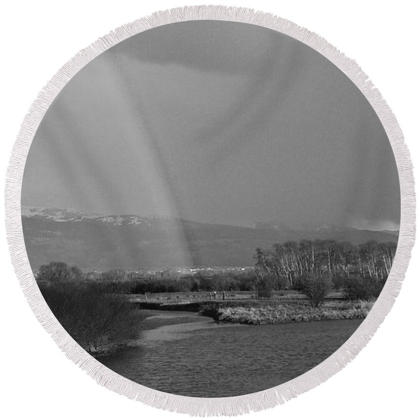 Weather Round Beach Towel featuring the photograph Rainbow In Black And White by Eric Tressler