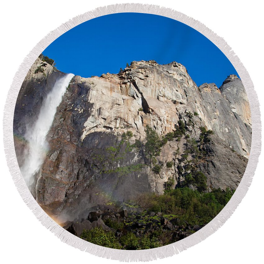 Granite Round Beach Towel featuring the photograph Rainbow On Bridalveil Fall by Olivier Steiner