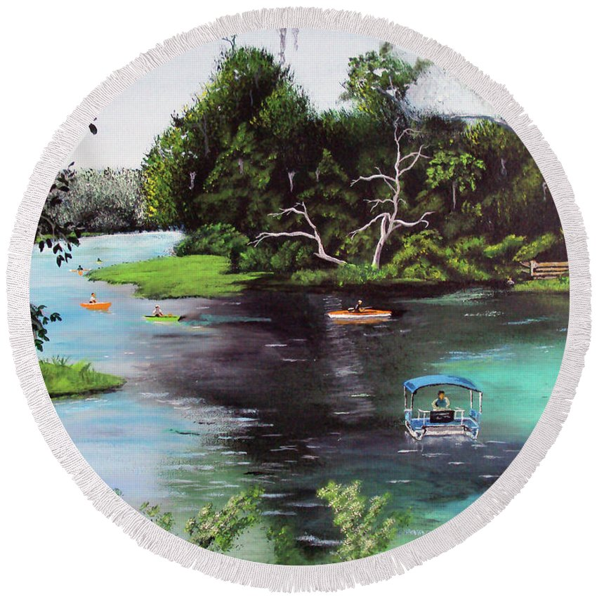 Rainbow Springs Round Beach Towel featuring the painting Rainbow Springs In Florida by Luis F Rodriguez