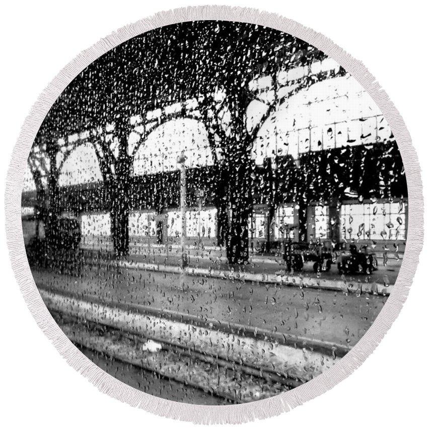 Rain Round Beach Towel featuring the photograph Rainy Departure by Valentino Visentini