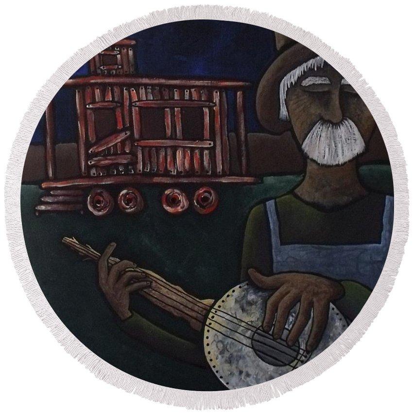 Old Man Round Beach Towel featuring the painting Ramblin' Man by Stefanie Beauregard