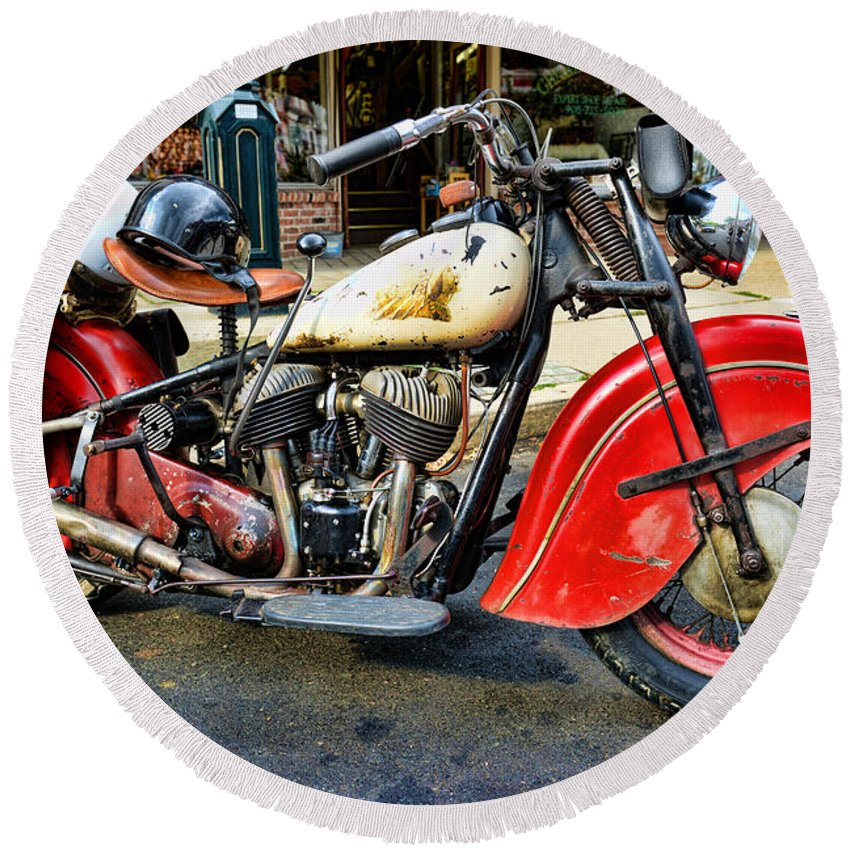 Paul Ward Round Beach Towel featuring the photograph Rare Indian Motorcycle by Paul Ward