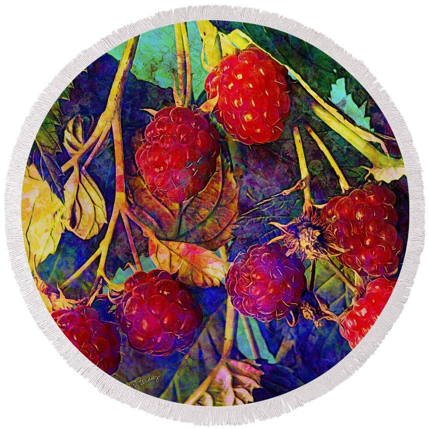 Raspberry Round Beach Towel featuring the digital art Raspberries by Barbara Berney