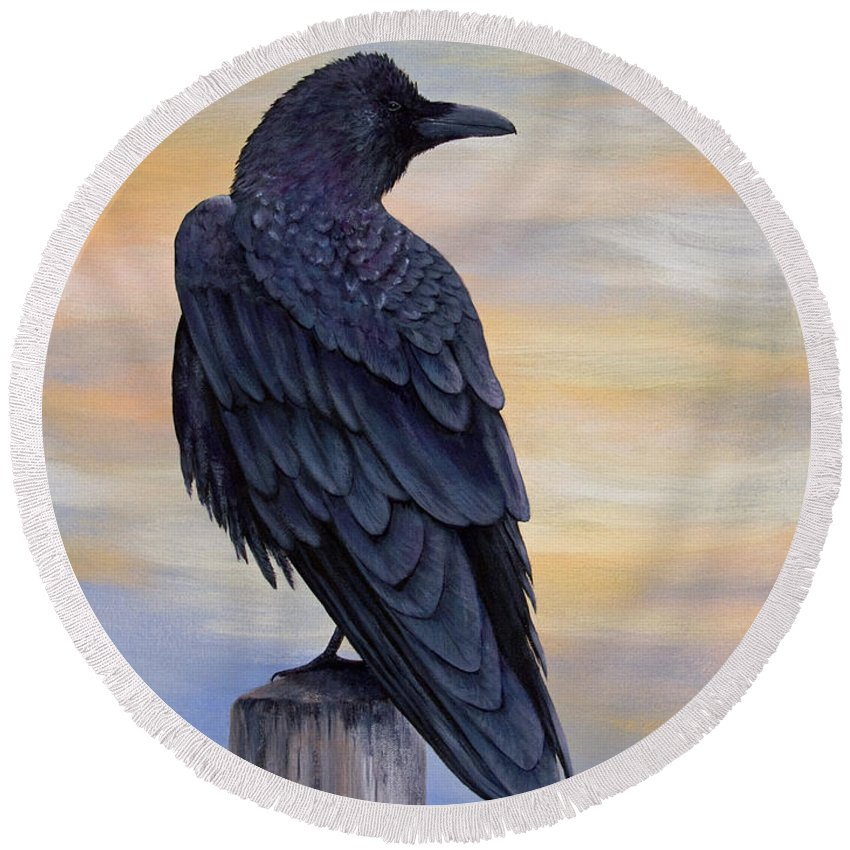 Raven Round Beach Towel featuring the painting Raven Beauty by Dee Carpenter