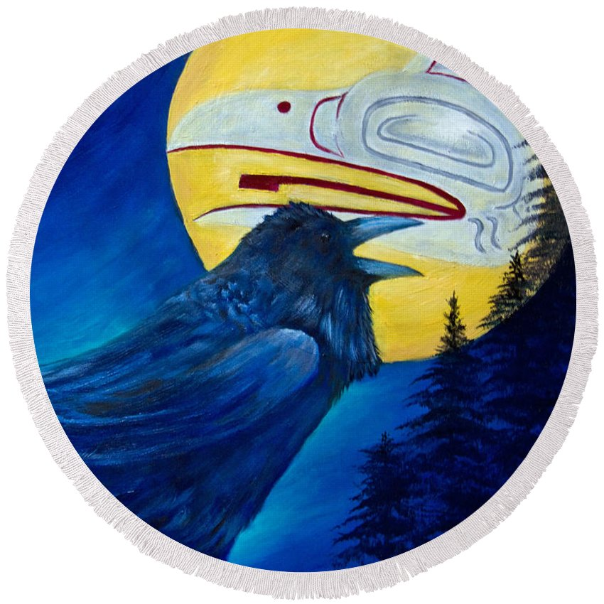 Raven Round Beach Towel featuring the painting Raven Spirit by Dee Carpenter
