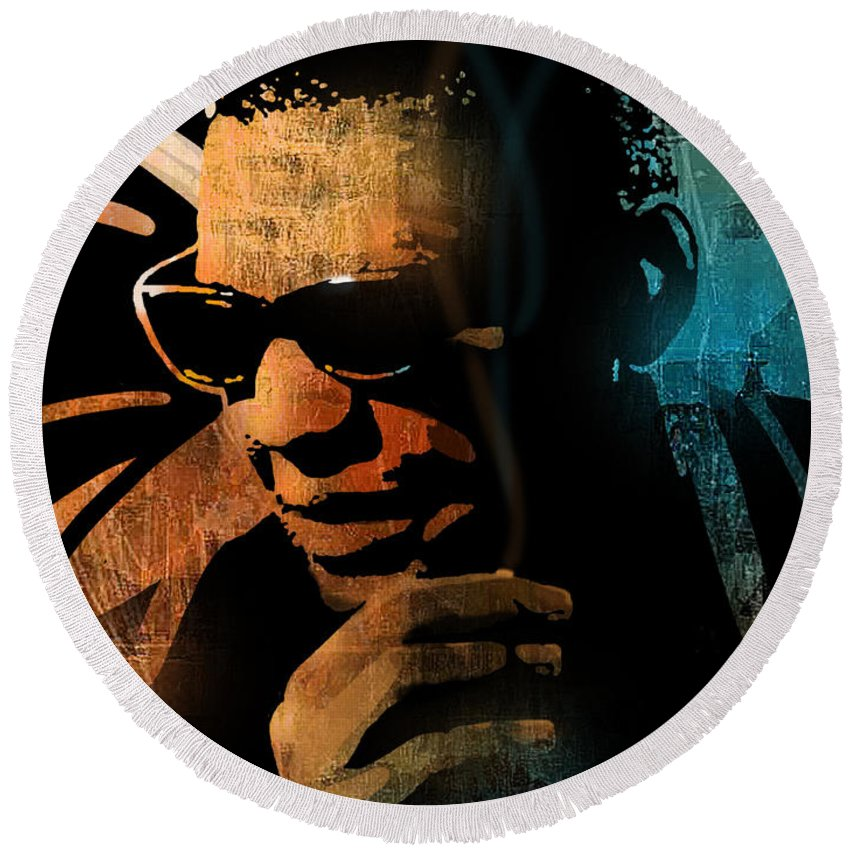 Blues Round Beach Towel featuring the painting Ray Charles by Paul Sachtleben