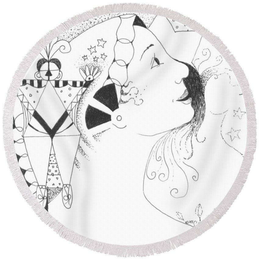 Aspirations Round Beach Towel featuring the drawing Recalling Dreams by Helena Tiainen
