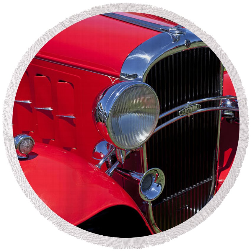 Red Round Beach Towel featuring the photograph Red 1932 Oldsmobile by Garry Gay