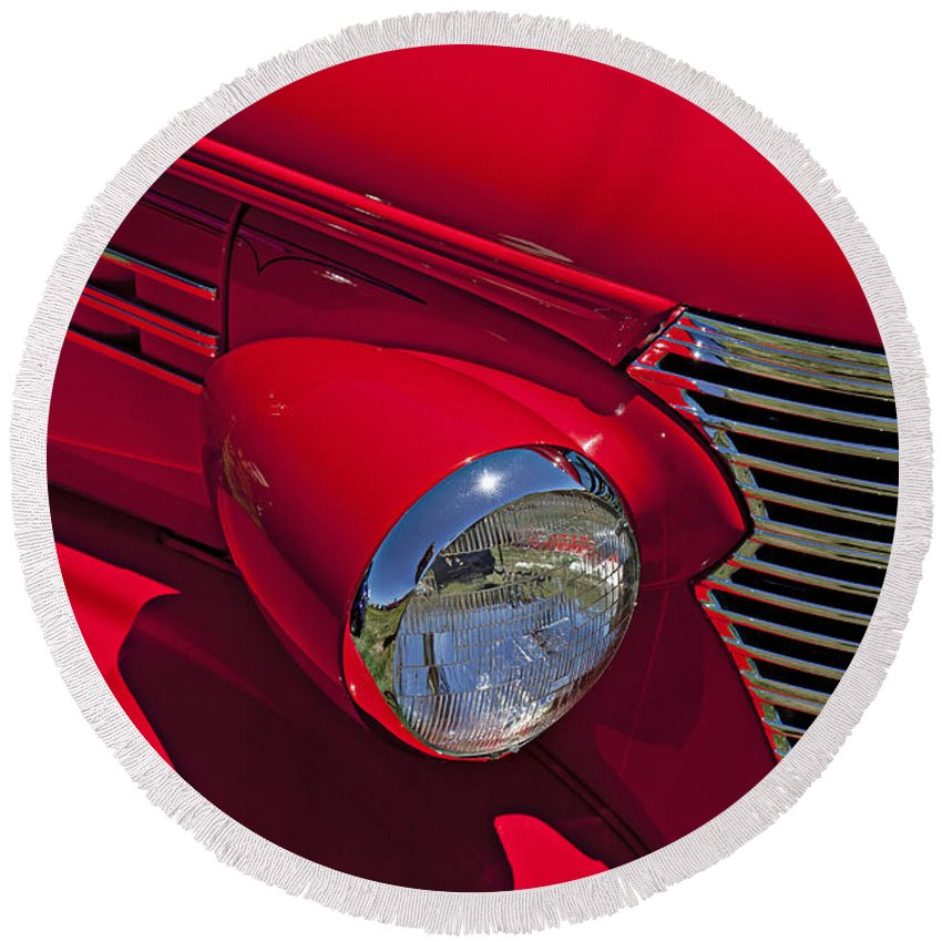 Red 1938 Chevy Coupe Round Beach Towel featuring the photograph Red 1938 Chevy Coupe by Garry Gay