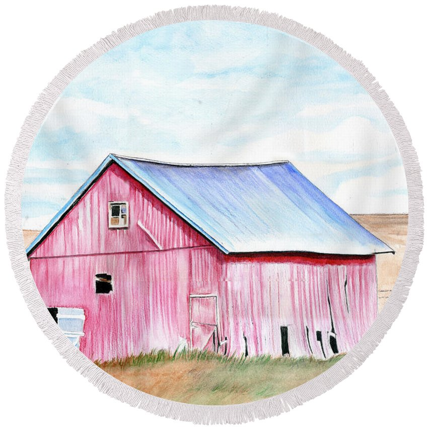 Watercolor Round Beach Towel featuring the painting Red Barn by Bill Richards