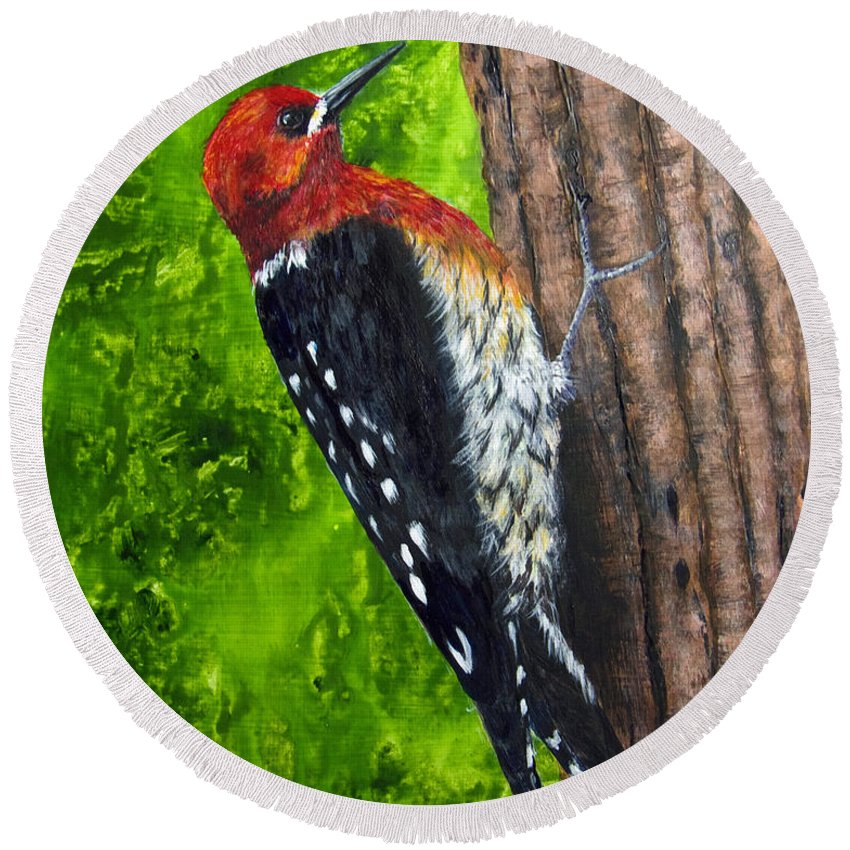 Red Breasted Sapsucker Round Beach Towel featuring the painting Red Breasted Sapsucker by Dee Carpenter