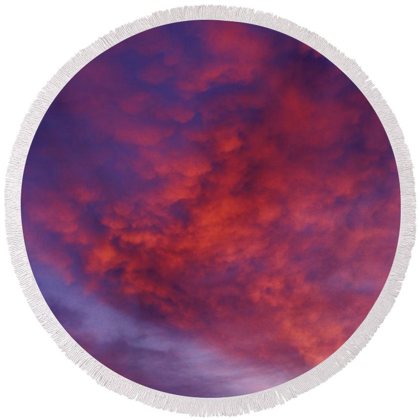 Red Clouds Round Beach Towel featuring the photograph Red Clouds by Garry Gay
