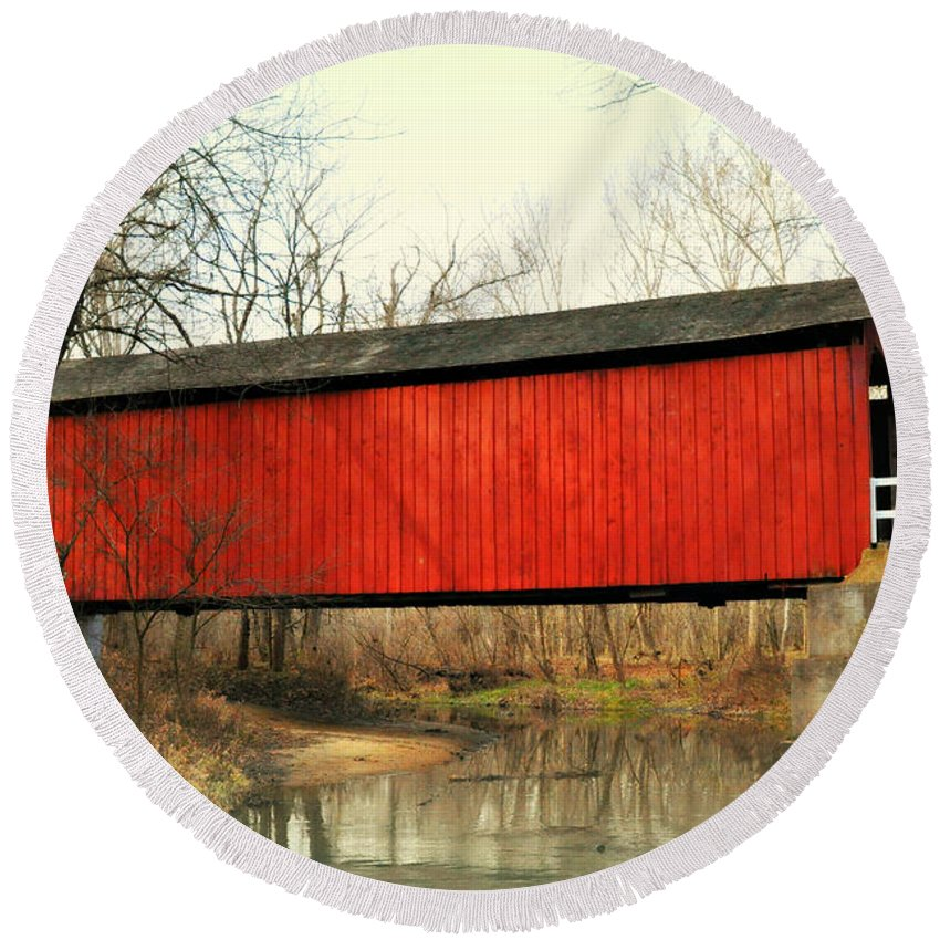 Bridge Round Beach Towel featuring the photograph Red Covered Bridge by Marty Koch