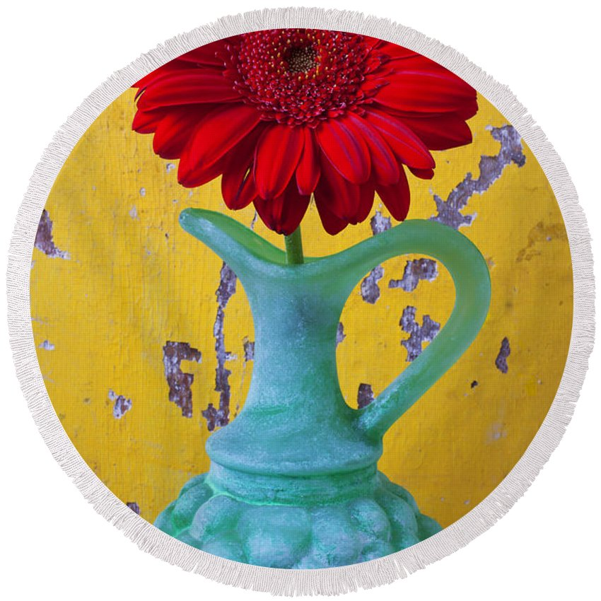 Red Round Beach Towel featuring the photograph Red Daisy In Grape Vase by Garry Gay