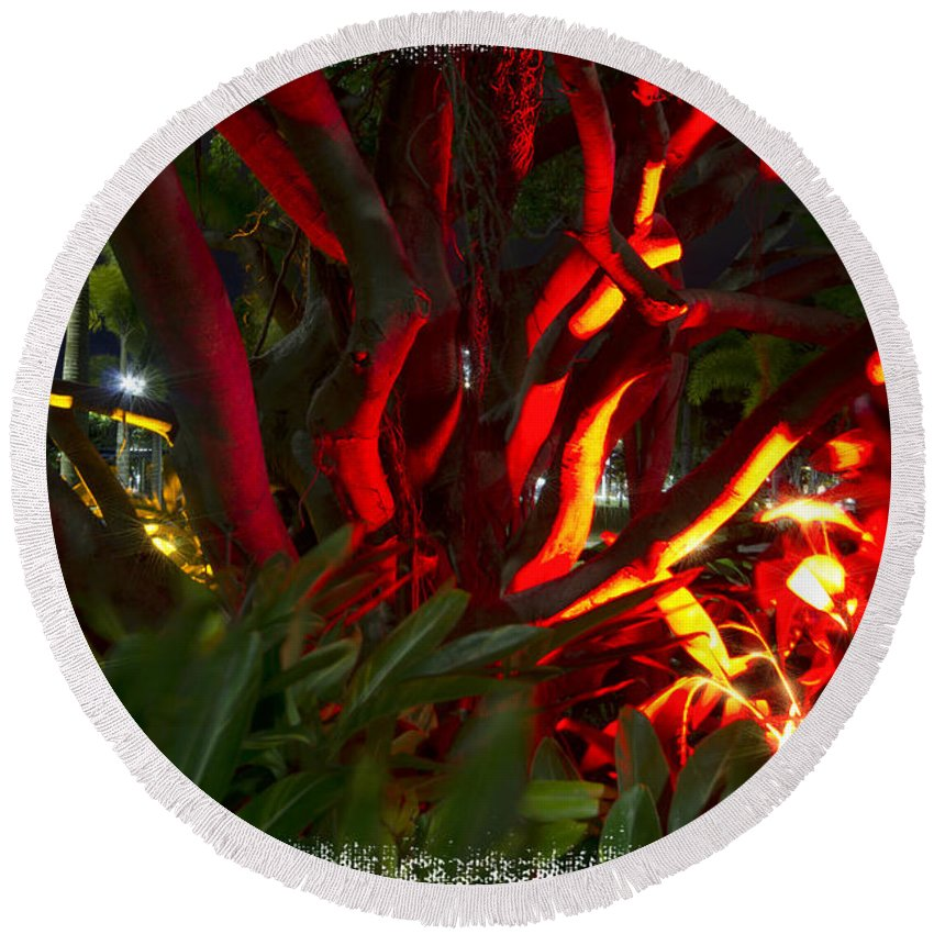 Entanglement Round Beach Towel featuring the photograph Red Entanglement by Douglas Barnard