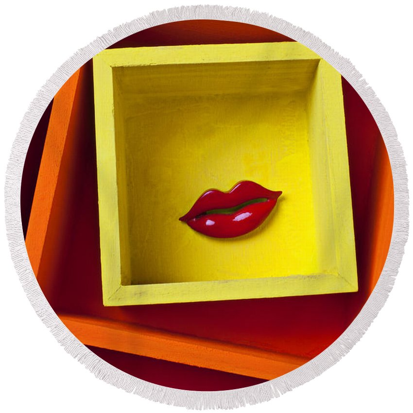 Red Round Beach Towel featuring the photograph Red Lips In Yellow Box by Garry Gay