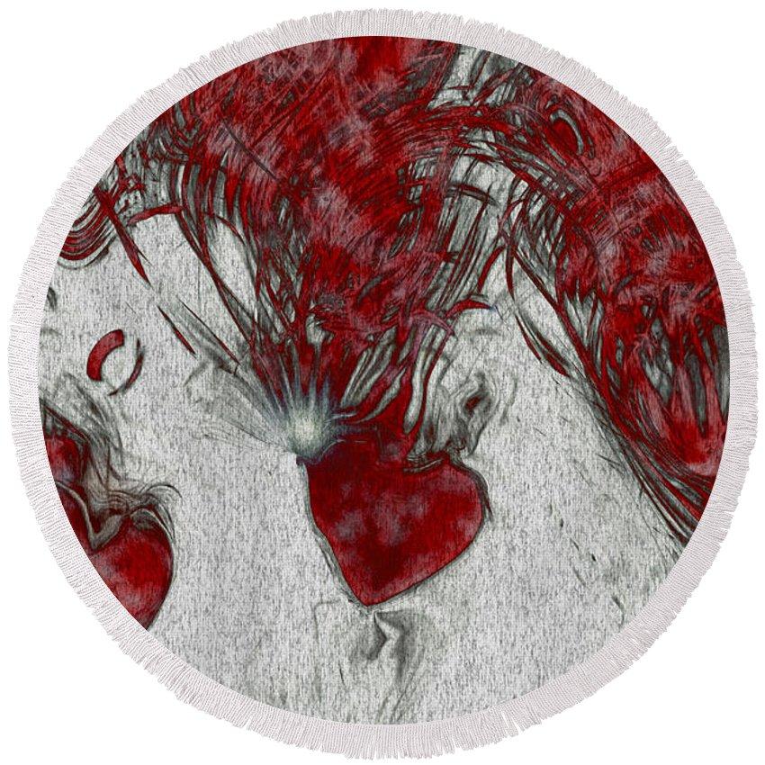 Hearts Round Beach Towel featuring the digital art Red Love by Linda Sannuti