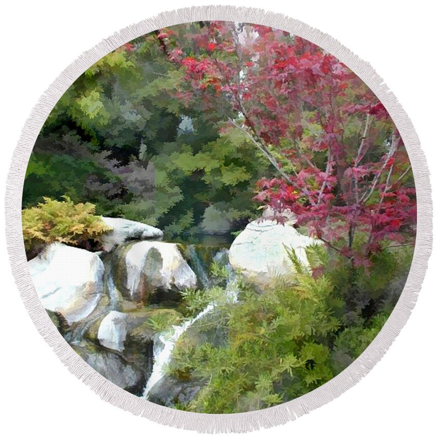 Japanese Garden Round Beach Towel featuring the painting Red Maple Above The Falls by Elaine Plesser
