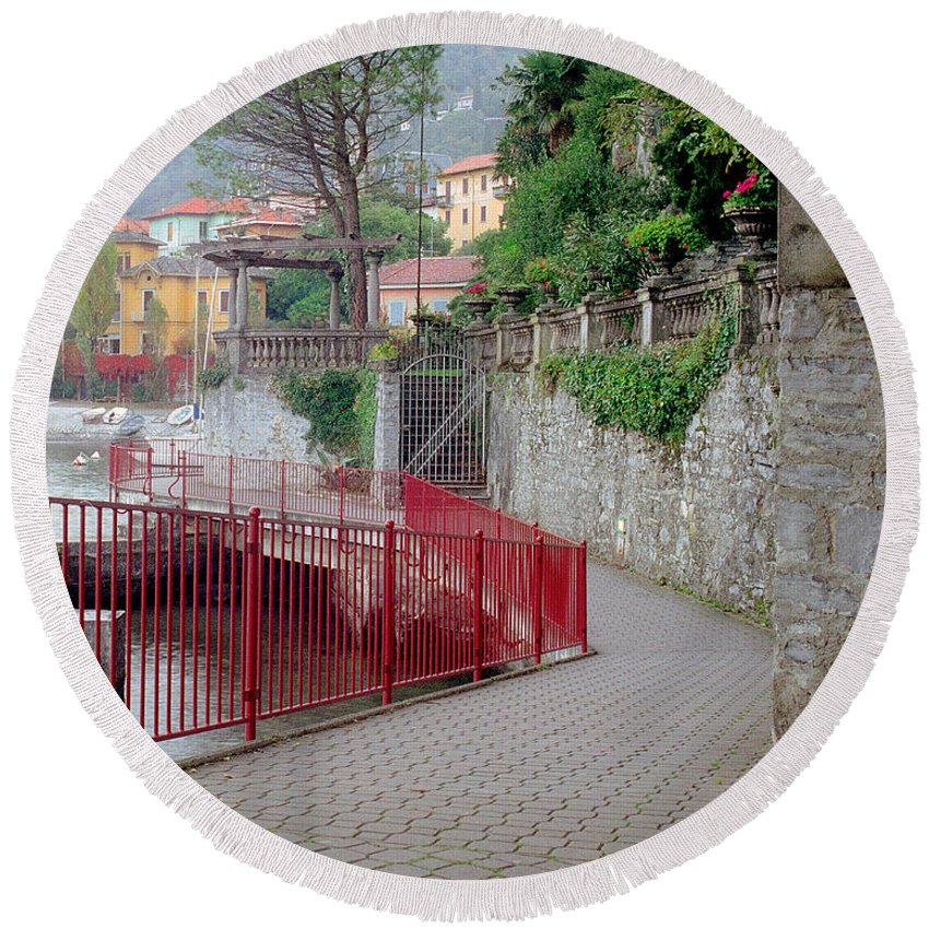 Varenna Round Beach Towel featuring the photograph Red Rail Walkway To Varenna Along Lake Como by Greg Matchick