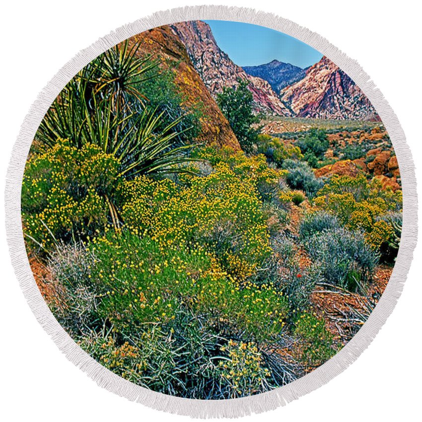 Nevada Round Beach Towel featuring the photograph Red Rock Park Spring Flowers by Rich Walter