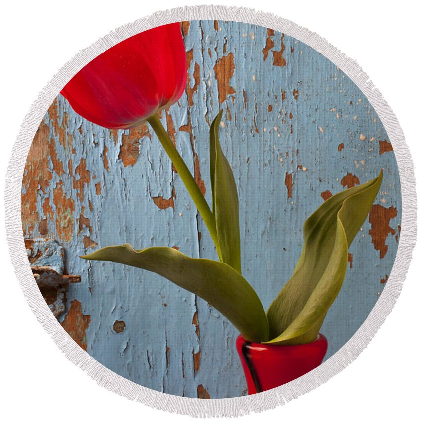 Red Round Beach Towel featuring the photograph Red Tulip Bending by Garry Gay