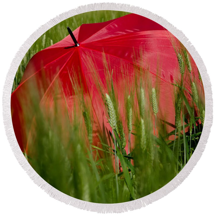 Umbrella Round Beach Towel featuring the photograph Red Umbrella On The Wheat Field by Mats Silvan