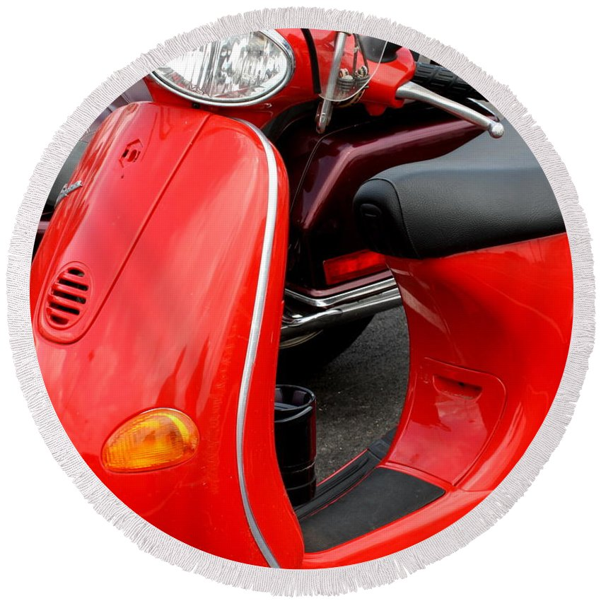 Vespa Round Beach Towel featuring the photograph Red Vespa Vintage Scooter Motorcycle by Terry Fleckney