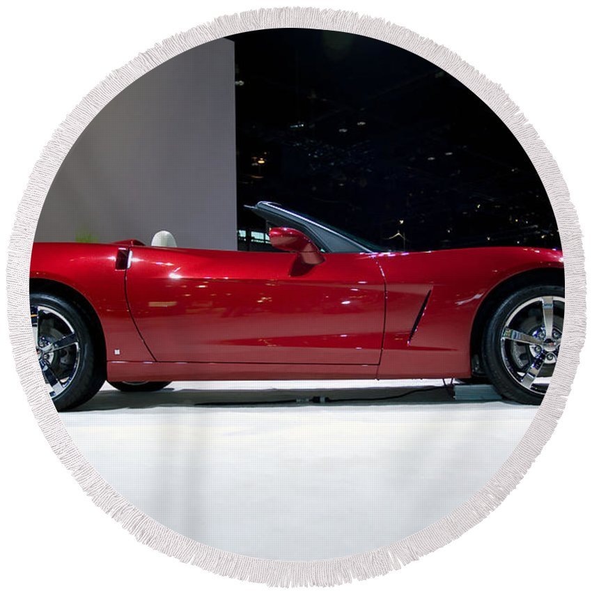 Automotive Round Beach Towel featuring the photograph Red Vette by Alan Look