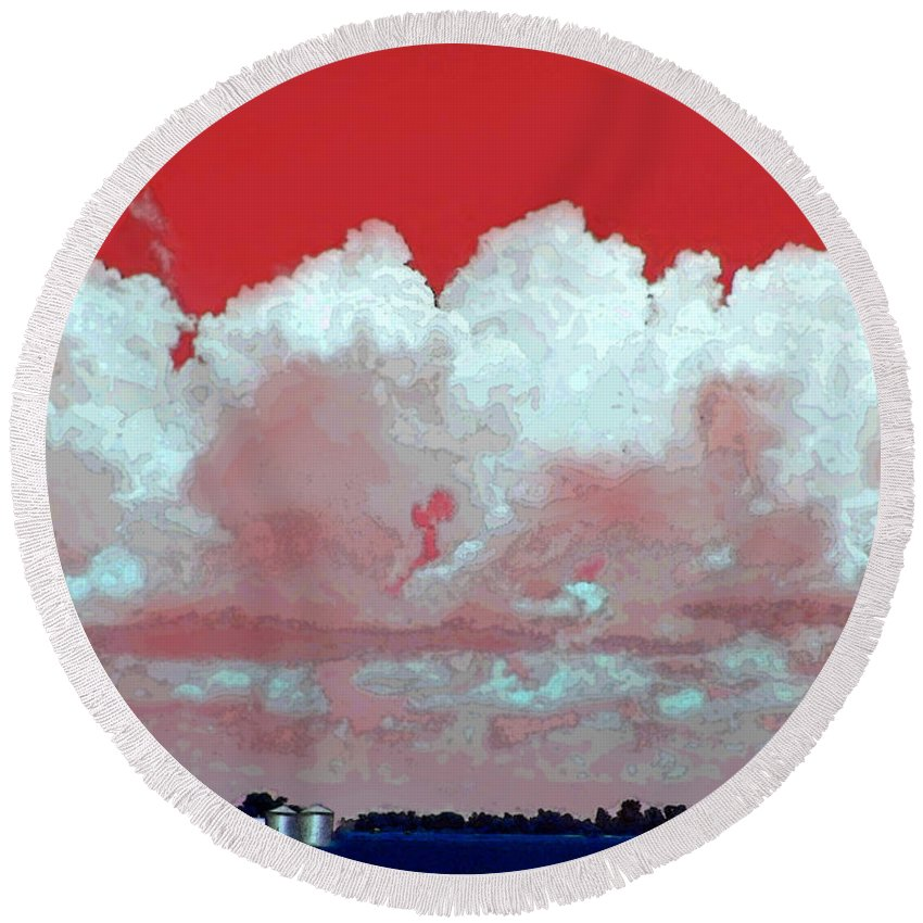 Cloud Posters Round Beach Towel featuring the photograph Red White And Blue Farm by Debbie Portwood
