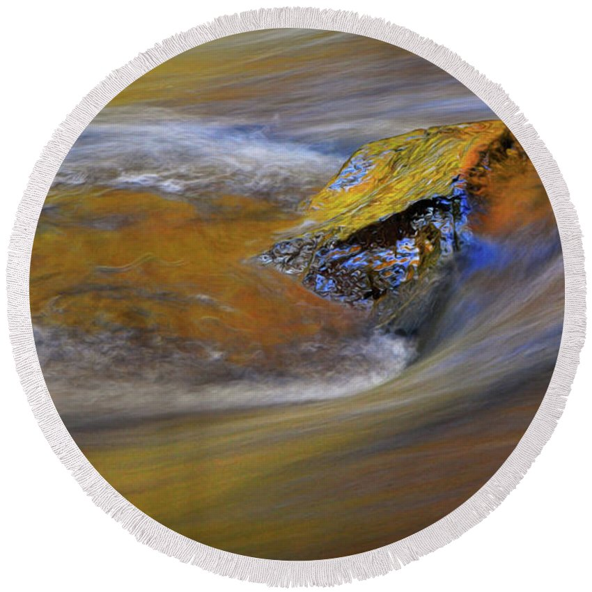 Autumn Round Beach Towel featuring the photograph Reflected Autumn Color by Dave Mills