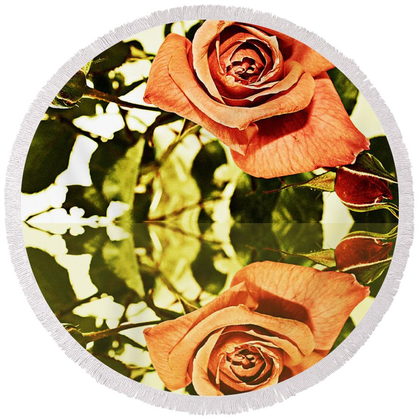 Reflection Of A Warm Rose Round Beach Towel featuring the photograph Reflection Of A Warm Rose by Barbara Griffin